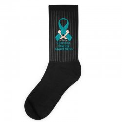i wear teal and whitefor cervical cancer awareness for dark Socks | Artistshot