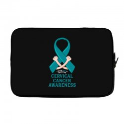 i wear teal and whitefor cervical cancer awareness for dark Laptop sleeve | Artistshot