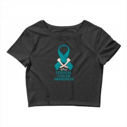 i wear teal and whitefor cervical cancer awareness for dark Crop Top | Artistshot