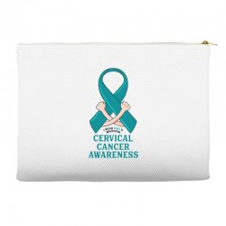 i wear teal and whitefor cervical cancer awareness for light Accessory Pouches | Artistshot