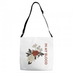 in my blood shawn mendes for light Adjustable Strap Totes | Artistshot