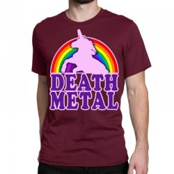 funny death metal unicorn rainbow Classic T-shirt | Artistshot