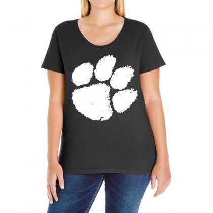 Clemson Tigers Foot Print Ladies Curvy T-shirt Designed By Black White