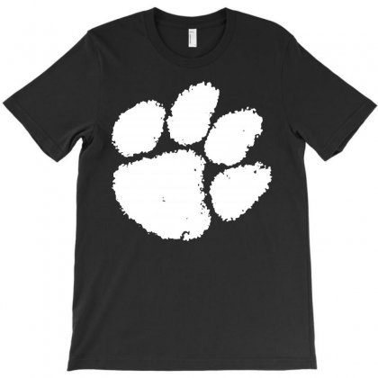 Clemson Tigers Foot Print T-shirt Designed By Black White