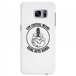 gun control means using both hands t shirt bear arms t shirt Samsung Galaxy S7 Edge Case | Artistshot