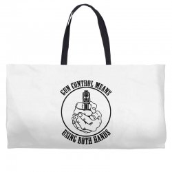gun control means using both hands t shirt bear arms t shirt Weekender Totes | Artistshot