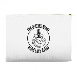 gun control means using both hands t shirt bear arms t shirt Accessory Pouches | Artistshot
