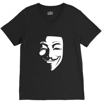 Guy Fawkes Anonymous Mask 2019 V-neck Tee Designed By Tee Shop