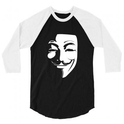 Guy Fawkes Anonymous Mask 2019 3/4 Sleeve Shirt Designed By Tee Shop