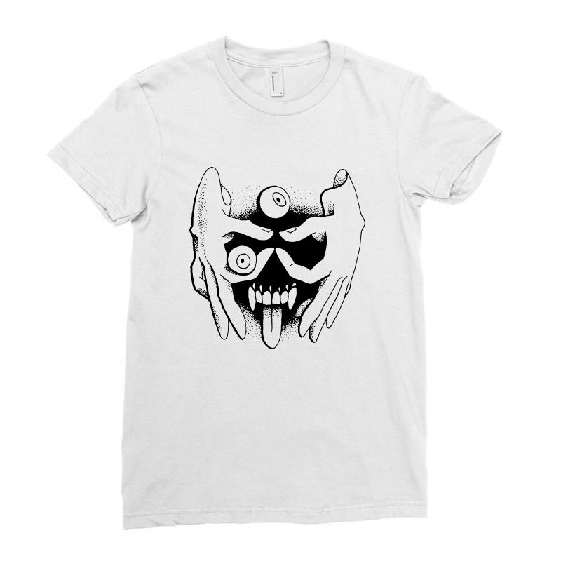 Hand Face Ladies Fitted T-shirt | Artistshot