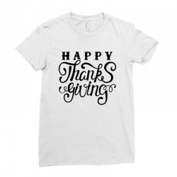 happy thanksgiving lettering Ladies Fitted T-Shirt | Artistshot