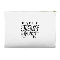 happy thanksgiving lettering Accessory Pouches | Artistshot