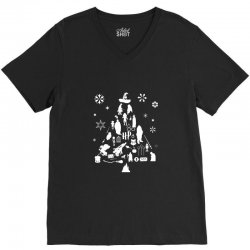 harry potter christmas tree silhouette V-Neck Tee | Artistshot