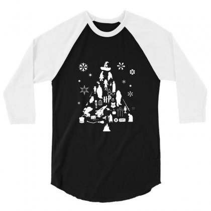 Harry Potter Christmas Tree Silhouette 3/4 Sleeve Shirt Designed By Tee Shop