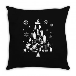 harry potter christmas tree silhouette Throw Pillow | Artistshot
