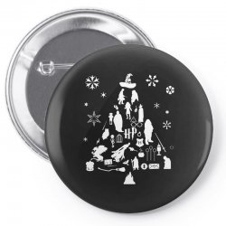 harry potter christmas tree silhouette Pin-back button | Artistshot