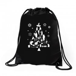 harry potter christmas tree silhouette Drawstring Bags | Artistshot