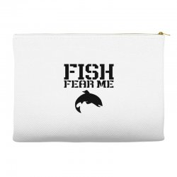 fish fear me funny fishing (black) Accessory Pouches | Artistshot