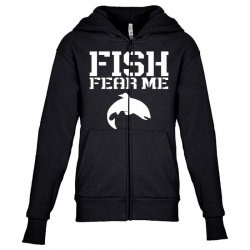 fish fear me funny fishing Youth Zipper Hoodie | Artistshot