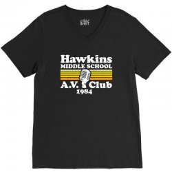 hawkins middle school av club V-Neck Tee | Artistshot