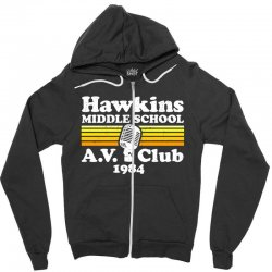 hawkins middle school av club Zipper Hoodie | Artistshot