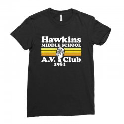 hawkins middle school av club Ladies Fitted T-Shirt | Artistshot