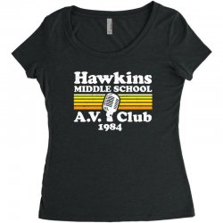 hawkins middle school av club Women's Triblend Scoop T-shirt | Artistshot