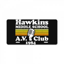 hawkins middle school av club License Plate | Artistshot