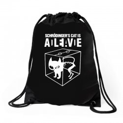 hilarious 2019 cat science funny schrodinger's cat Drawstring Bags | Artistshot