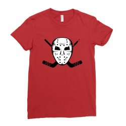 hockey mask sticks ice skate winter sports fan Ladies Fitted T-Shirt | Artistshot