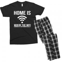 home is where the wifi connects teenager funny Men's T-shirt Pajama Set | Artistshot