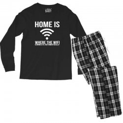 home is where the wifi connects teenager funny Men's Long Sleeve Pajama Set | Artistshot