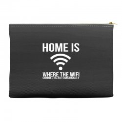 home is where the wifi connects teenager funny Accessory Pouches | Artistshot