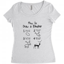 how to draw a reindeer Women's Triblend Scoop T-shirt | Artistshot