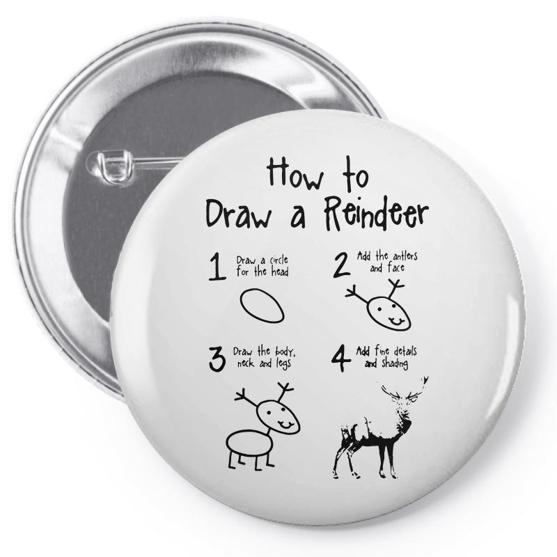 How To Draw A Reindeer Pin-back Button   Artistshot