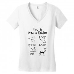 how to draw a reindeer Women's V-Neck T-Shirt | Artistshot