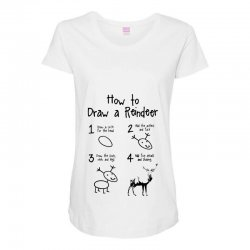 how to draw a reindeer Maternity Scoop Neck T-shirt | Artistshot