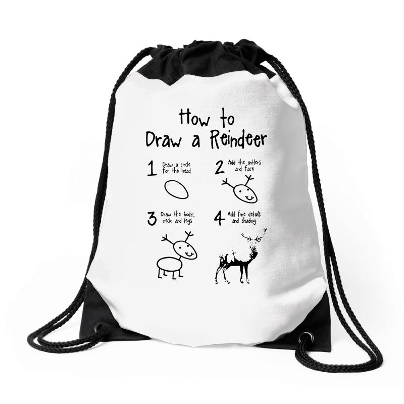 How To Draw A Reindeer Drawstring Bags | Artistshot