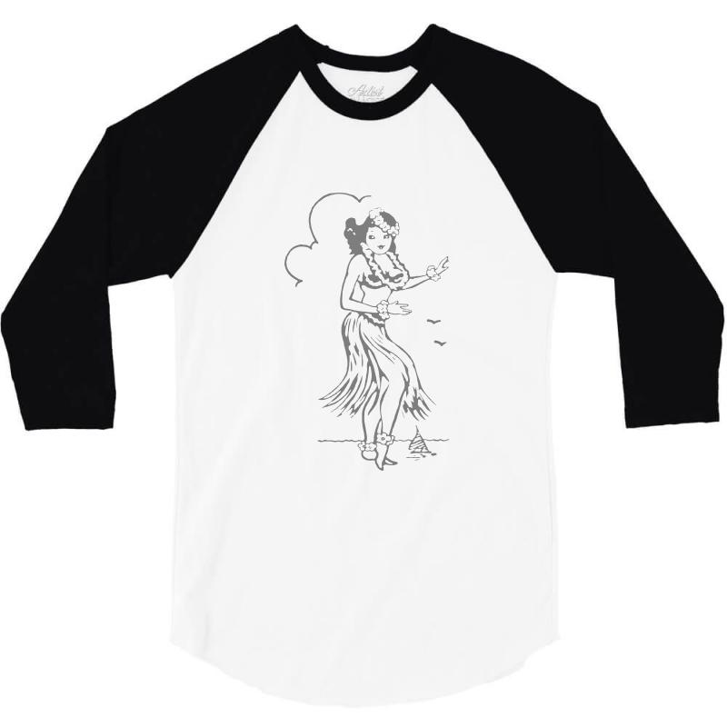 Hula Girl T Shirt Hula Girl Shirt Tiki Bar T Shirt Tiki Graphic Tee 3/4 Sleeve Shirt | Artistshot