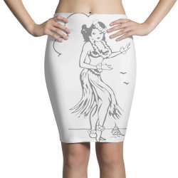 hula girl t shirt hula girl shirt tiki bar t shirt tiki graphic tee Pencil Skirts | Artistshot