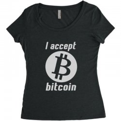 i accept bitcoin online game money crypto currency funny Women's Triblend Scoop T-shirt | Artistshot