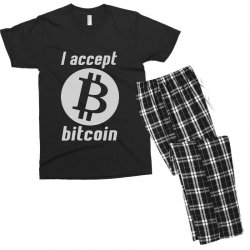 i accept bitcoin online game money crypto currency funny Men's T-shirt Pajama Set | Artistshot