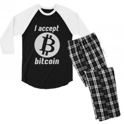 i accept bitcoin online game money crypto currency funny Men's 3/4 Sleeve Pajama Set | Artistshot