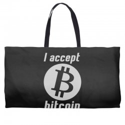 i accept bitcoin online game money crypto currency funny Weekender Totes | Artistshot