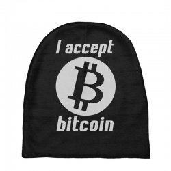 i accept bitcoin online game money crypto currency funny Baby Beanies | Artistshot