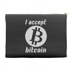 i accept bitcoin online game money crypto currency funny Accessory Pouches | Artistshot