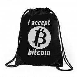 i accept bitcoin online game money crypto currency funny Drawstring Bags | Artistshot