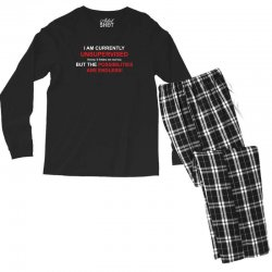 i am currently unsupervised adult humor novelty graphic sarcasm funny Men's Long Sleeve Pajama Set | Artistshot