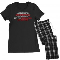 i am currently unsupervised adult humor novelty graphic sarcasm funny Women's Pajamas Set | Artistshot