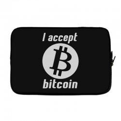 i accept bitcoin online game money crypto currency funny Laptop sleeve | Artistshot